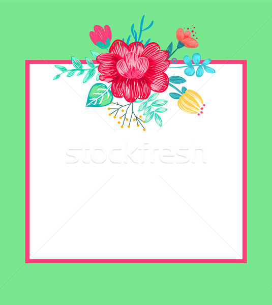Banner with Flowers and Frame Vector Illustration Stock photo © robuart
