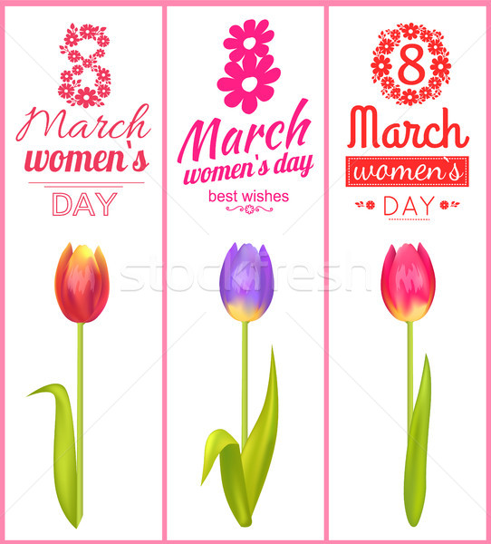 8 March Best Wishes Poster Vector Illustration Stock photo © robuart