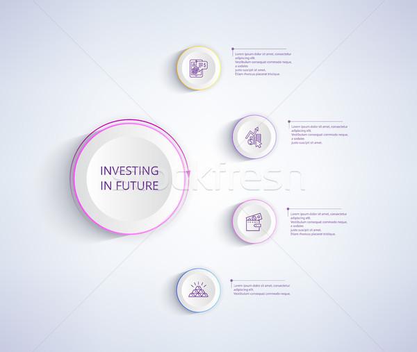 Befektetés jövő infografika poszter pénztárca pénz Stock fotó © robuart