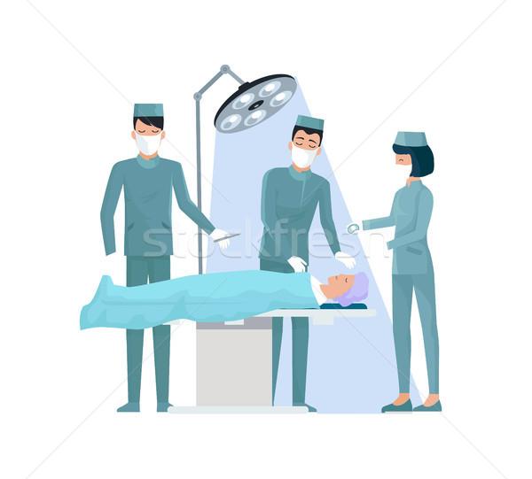 Stock fotó: Orvosok · nővér · operáció · visel · kék · egyenruha