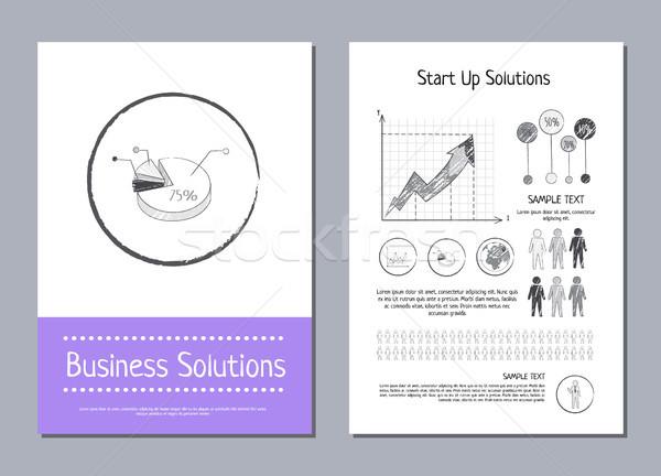 Działalności rozwiązanie początku w górę plakaty wykresy Zdjęcia stock © robuart