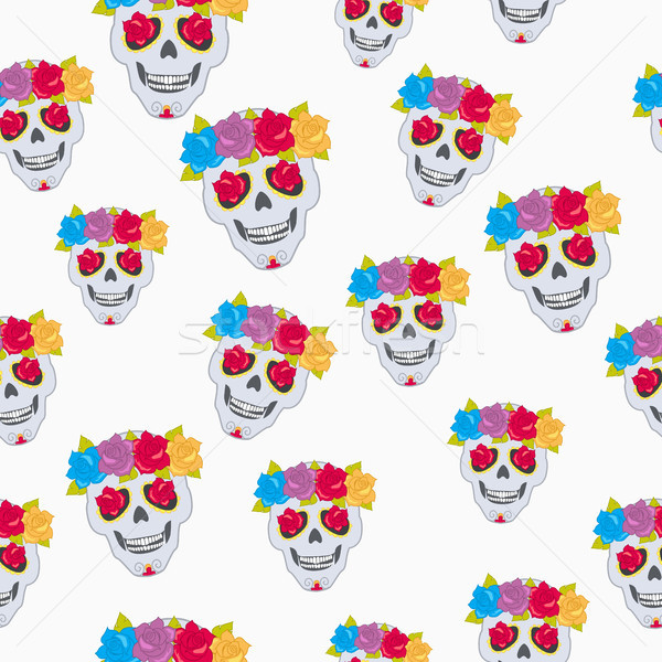 Human Skull and Flower Wreath Seamless Pattern. Stock photo © robuart