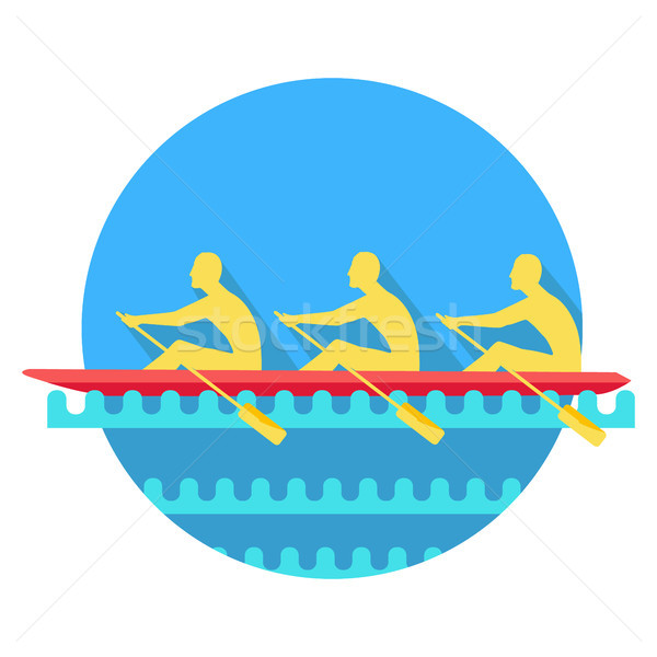 Sports Rowing on Canoe Flat Style Vector Icon Stock photo © robuart