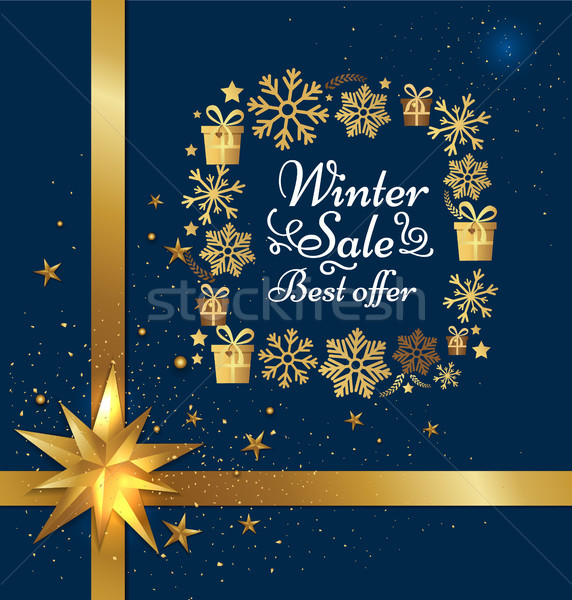Big Winter Sale Poster with Gift Bow, Decor Frame Stock photo © robuart