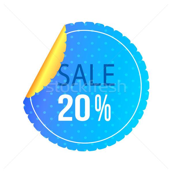 Vinte por cento venda cartaz brilhante azul Foto stock © robuart
