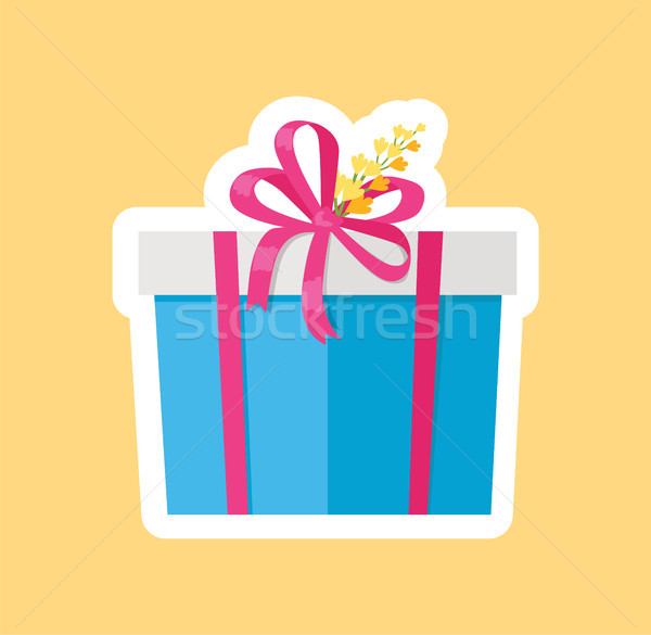 Present in Box Decorated by Yellow Flower Vector Stock photo © robuart