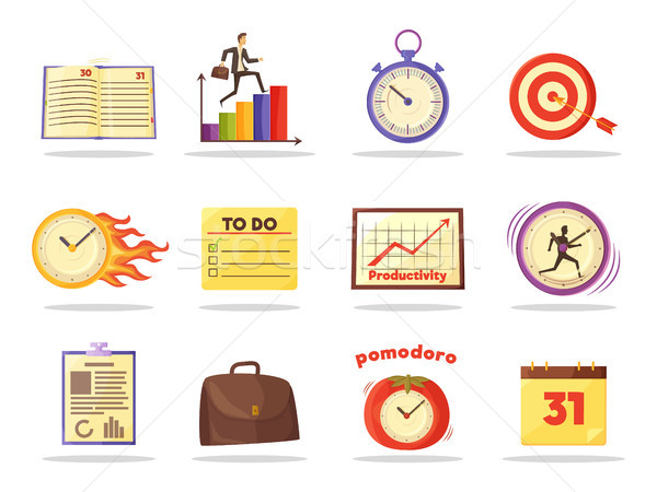 Set of Productivity Time Management Colored Icons Stock photo © robuart