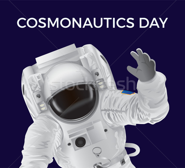 Cosmonautics Day Promotional Poster with Spaceman Stock photo © robuart