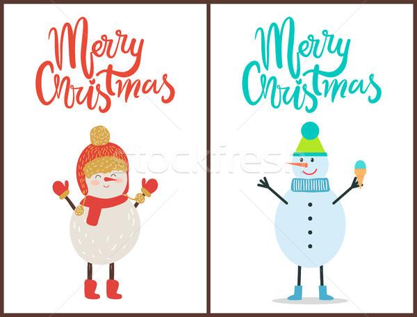 Photo stock: Joyeux · Noël · bannière · félicitation · bonhomme · de · neige · tricoté