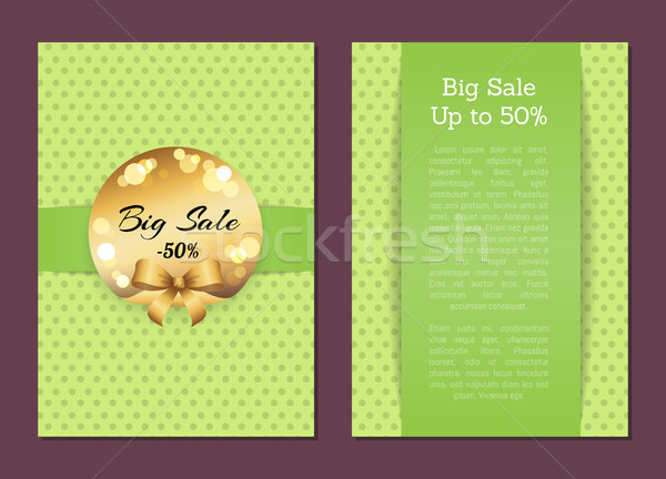 Big Sale to 50 Cover Front Back Page Golden Label Stock photo © robuart