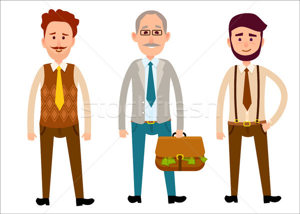 Three Men of Different Looks Flat Cartoon Theme Stock photo © robuart