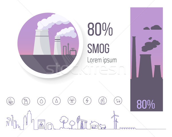 80 Smog Polution Poster with Factory Illustration Stock photo © robuart