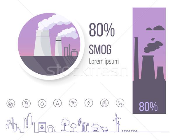 80 szmog poszter gyár illusztráció levegő Stock fotó © robuart