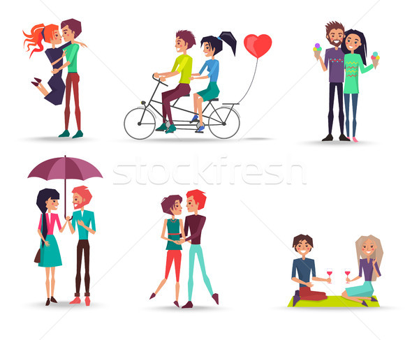Stock photo: Concept of Happy Lovely Girl and Boy Together
