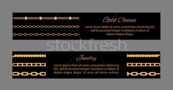 Gold Chains Cards and Text Vector Illustration Stock photo © robuart