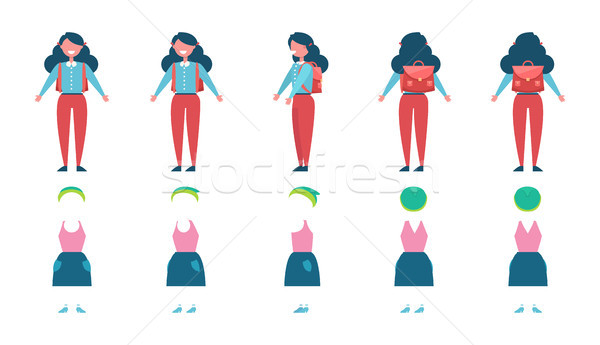 Schoolgirl with Backpack and Spare Clothes Model Stock photo © robuart