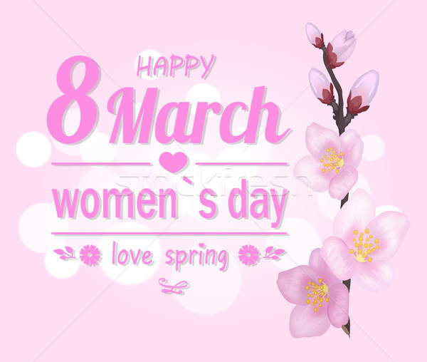 Happy 8 March Pink Banner Vector Illustration Stock photo © robuart