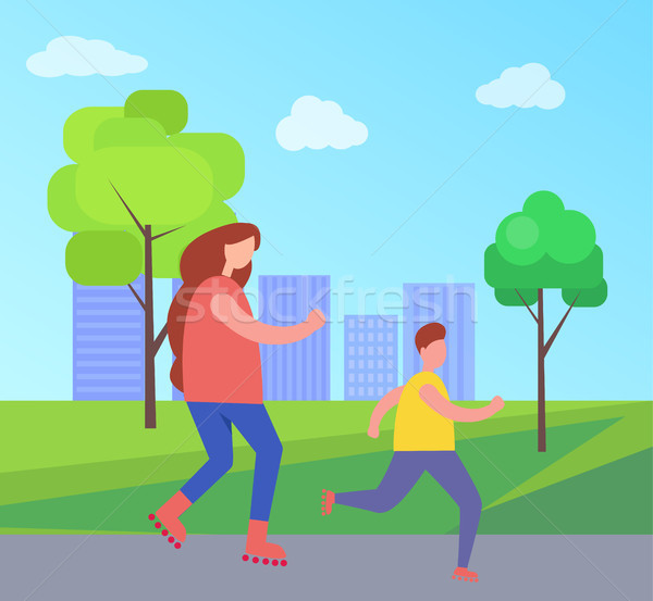 Mother and Son Rollerblading in City Park Vector Stock photo © robuart