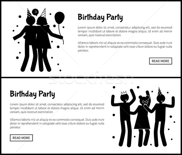Birthday Party Promotional Monochrome Banners Stock photo © robuart