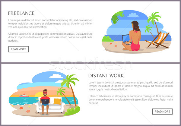 Freelance and Distant Work Page Vector Illustration Stock photo © robuart