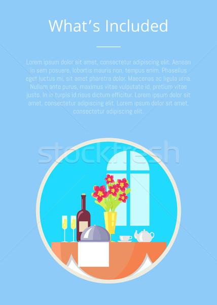 Qué plantilla embarque hotel servicio anunciante Foto stock © robuart
