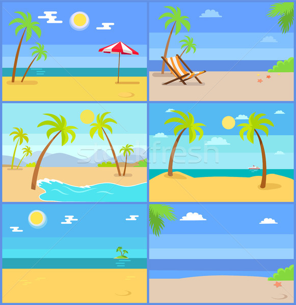 Set Tropical Coastline Views Vector Illustrations Stock photo © robuart