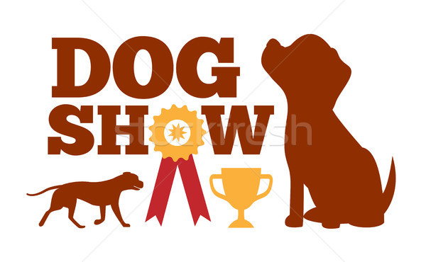 Dog Show Advertising Card, Brown Dogs Silhouettes Stock photo © robuart