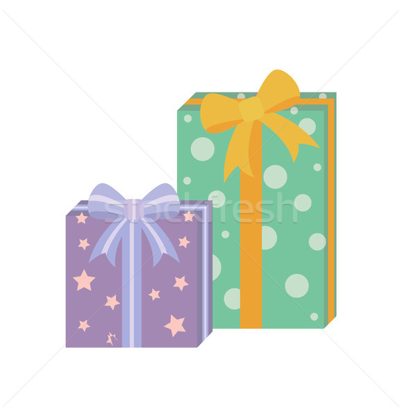 Presents with Wrapping Poster Vector Illustration Stock photo © robuart