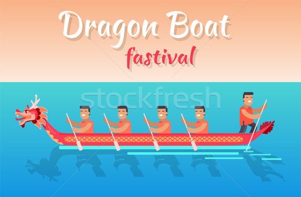 Dragon Boat Festival Promotional Poster with Sea Stock photo © robuart