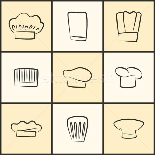 Chef Hats of All Designs Monochrome Sketches Set Stock photo © robuart