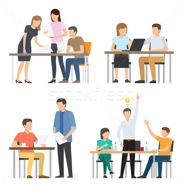 People Work on Fresh Startup around Table Set Stock photo © robuart