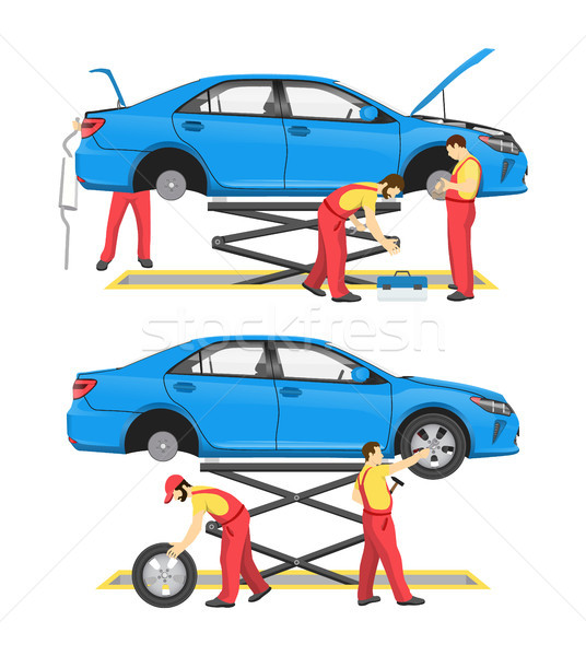 Tyre Fitting and Automobile Review Colorful Card Stock photo © robuart