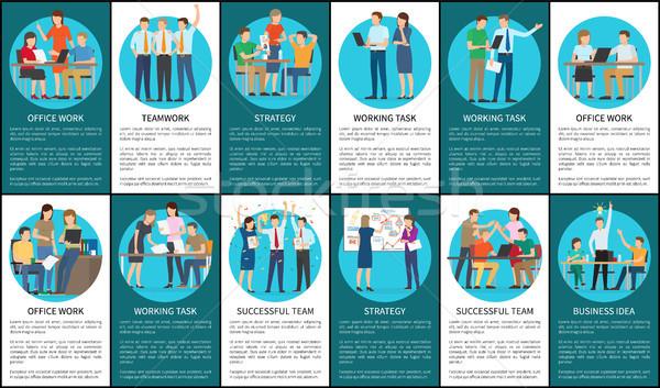 Teamwork and Strategy Set Vector Illustration Stock photo © robuart