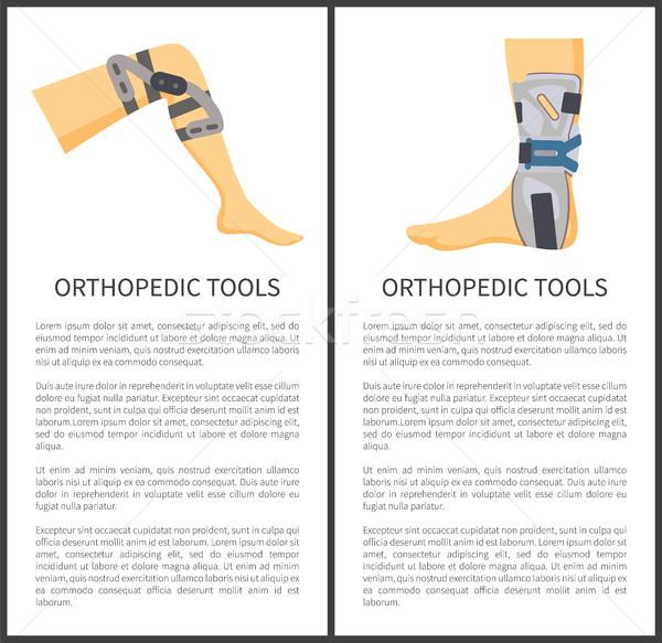 Ortopedico strumenti set testo ginocchio piedi Foto d'archivio © robuart