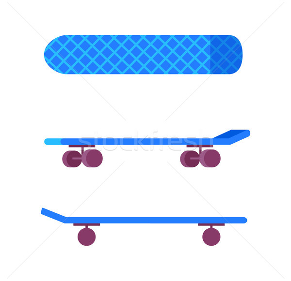 Gördeszka kék szín kerekek nyomtatott felfelé Stock fotó © robuart
