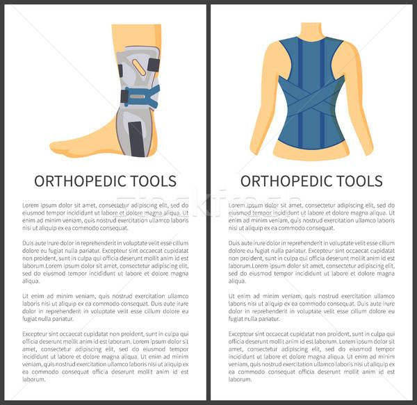 Ortopédico ferramentas pessoas prevenção cartaz Foto stock © robuart