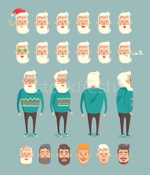 Grandpa Wearing Sweater Set Vector Illustration Stock photo © robuart