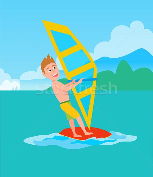 Windszörf nyár sport tevékenység férfi tart Stock fotó © robuart