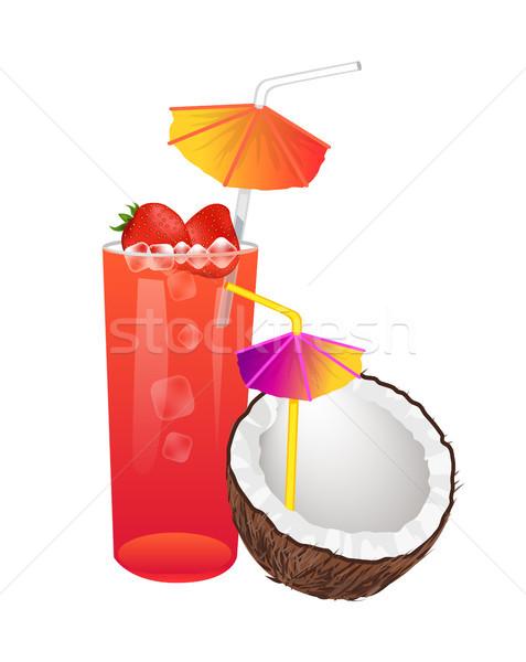 Zoete zomer cocktails aardbeien kokosnoot bes Stockfoto © robuart
