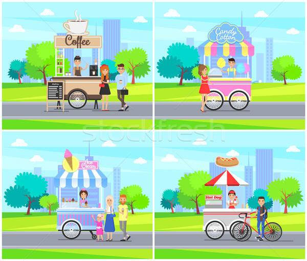 Coffee Stalls Street Service Vector Illustration Stock photo © robuart