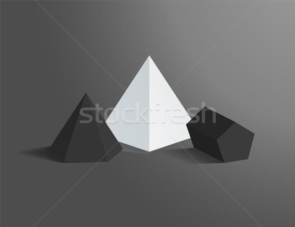 Hexagonal Pyramid and Pentagonal Prism Figures Set Stock photo © robuart