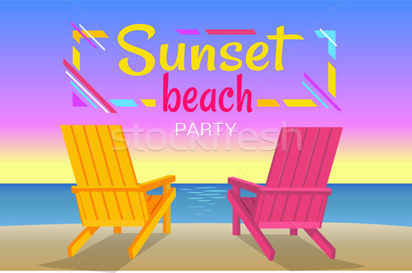 Sunset on Beach, Summer Party, Colorful Banner Stock photo © robuart