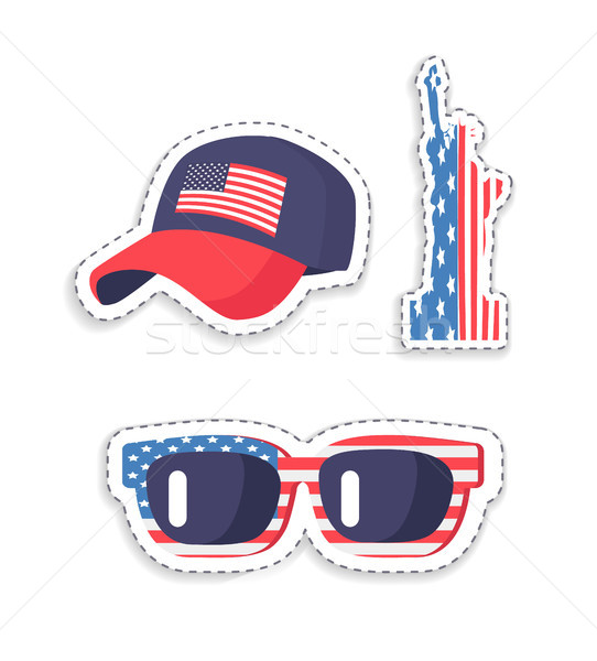 Stockfoto: Vaderlandslievend · stickers · Amerikaanse · vlag · kleuren · ingesteld · vorm