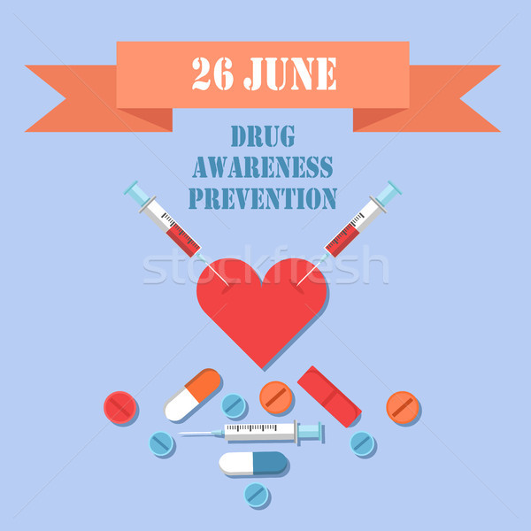 Drug Awareness and Prevention 26 June Color Card Stock photo © robuart