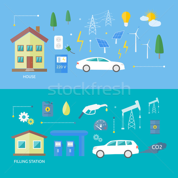 Electric cars and petrol car Stock photo © robuart