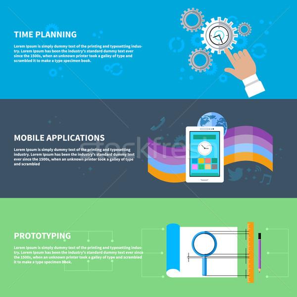 Tempo planejamento móvel aplicativo conjunto projeto Foto stock © robuart