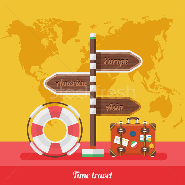 Travel Concept Stylish Background with World Map Stock photo © robuart