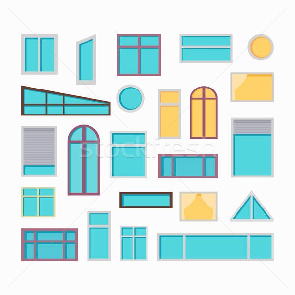 セット 窓 ベクトル イラスト スタイル コレクション ストックフォト © robuart