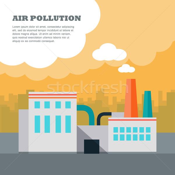 Levegő szennyezés gyár épület csövek füst Stock fotó © robuart
