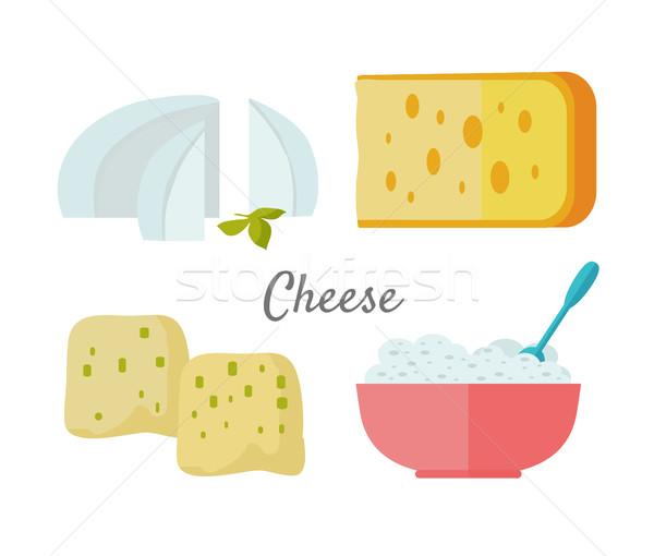 ストックフォト: チーズ · 孤立した · 白 · 異なる · ピース